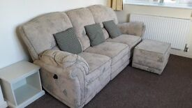 3 seater recliner settee with footstool
