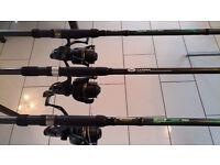 Fishing Gear *3 Carp Rods, 3* Reels 30lb Line,Bank Sticks,3*Spare Spools 15lb line,Rod Bag. £85 ono