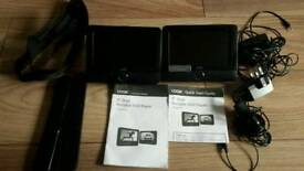 """LOGIK DUAL 7"""" CAR DVD PLAYERS WITH ALL LEADS"""