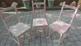Set of 3 up cycled pine chairs. Decoupage & distressed chalk paint.