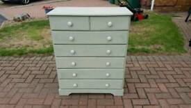Green wooden bedroom chest of drawers