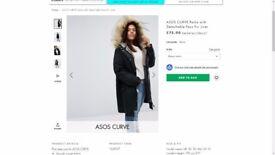 ASOS CURVE Parka with Detachable Faux Fur Liner SIZE 24