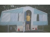 Riva Dandy designer trailer tent with awning - reupholstered and serviced at Riva Dandy