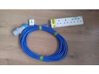 12 Metre Camp site Electric Hook-up cable Extension leads.16 Amp/ Approved cable, tough plugs