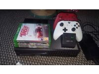 Xbox one, 4 games, 2 wireless pads plus charger