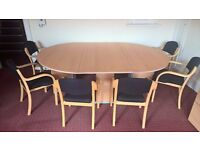CONFERENCE / BOADROOM TABLE AND 6 CHAIRS, BEECH