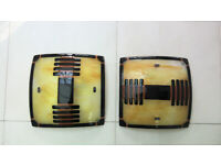 Pair of Murano glass wall/ceiling lights in shades of ochre and black