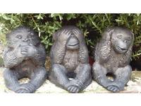 3 WISE MONKEY HOME/GARDEN STONE ORNAMENTS HEAR NO, SEE NO, SPEAK NO EVIL