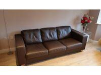 Brown leather large John Lewis sofa