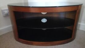 Wood TV Unit with smoked glass top