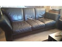 brown leather suite 3 2 and footstool