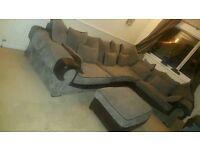 Big brown and grey corner sofa