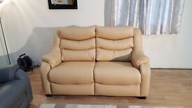 Ex-display Denver dark cream leather 2 seater sofa