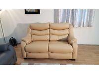 Ex-display Denver dark cream leather 2 seater sofa