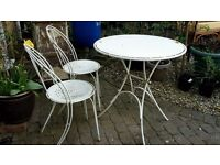 Shabby chic white garden bistro set table and 2 chairs