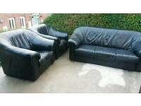 Leather sofa and 2armchairs