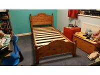 Solid Pine Single Bed and Matress