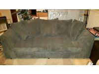 2 Seater + 3 Seater Grey Jumbo Cord Sofas (Brand New - Never Used)