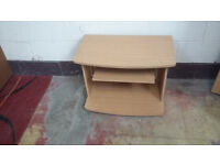 tv stand in light wood with shelve