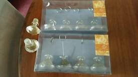 """Eight plastic 'Jewel"""" glitter place/ name card holders and 2 matching wine stoppers (ideal for xmas)"""