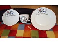 Dalmatian cup and saucer + plate for child