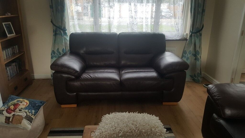Clayton Brown Real Leather 3 Seater