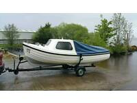 ORKNEY FASTLINER FISHING BOAT FOR SALE WITH TRAILER AND FISHING EQUIPMENT.