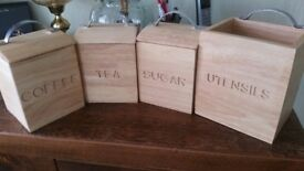 wooden tea coffee sugar utensils canisters