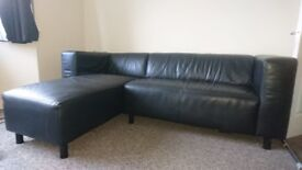 Dwell Black Leather Corner Sofa Excellent Condition