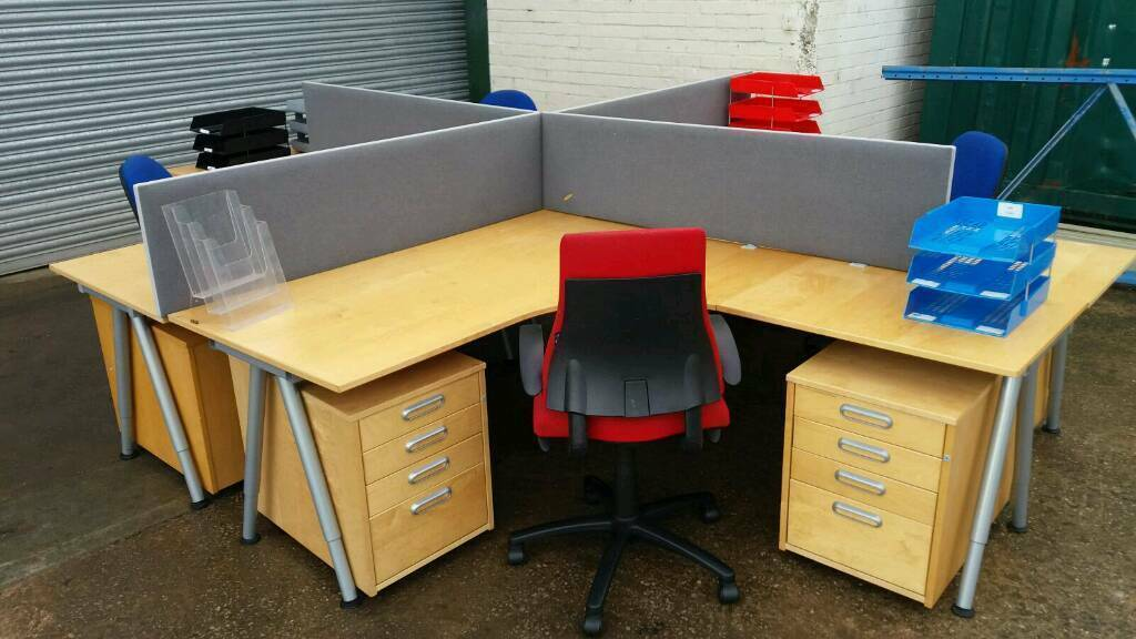 ikea galant large office corner desk with 2 small drawers