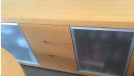 Sideboard 2 side doors with glass shelf's &3 drawers down the middle