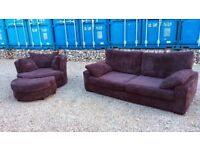 Chocolate Brown Suite, Chenille Sofa, spinning cuddle chair and footstool)