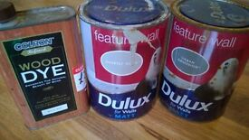 new unused job lot dulux paint and wood stain 5 pounds for bundle