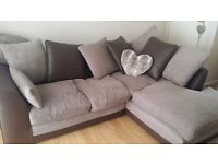Half fabric half leather corner sofa