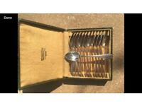 Antique French desert fork and spoon set