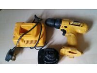 12v dewalt drill with battery and charger