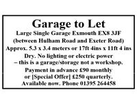 EXMOUTH GARAGE TO LET