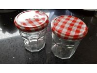 14 clean original Bonne Maman preserve glass jars with red gingham lids