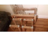 Nest Of High Quality Glass Top, Wooden Frame Tables Only 3 Months Old RRP£100