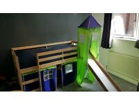 Childrens mid sleeper bed with slide