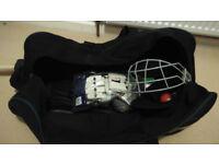 Cricket set - Kookaburra bag and gloves, Gray Nicolls helmet, Slazenger V800 bat., etc.