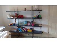 IKEA industrial style grey Wood and metal shelving shelf unit