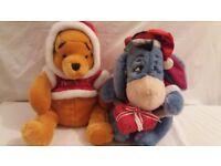 2 x Christmas Disney Store Soft Toy Teddy Bear Whinnie The Pooh Eeyore 30cm