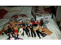 Wrestling figures, ring and accessories