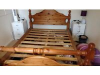 Wooden double bed with 4 under bed storage drawers - Collection only
