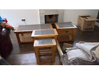 Set of 5 beautiful wood and marble tables