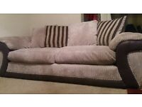 Cord sofa, armchair and storage footstool