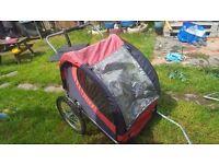 2 seatsr child bike trailer