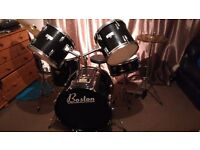 Boston 5 piece drum kit (black) for sale. Good condition. Good drum kit for beginners.