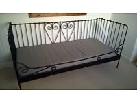 Ikea Black metal frame day bed with Mattress